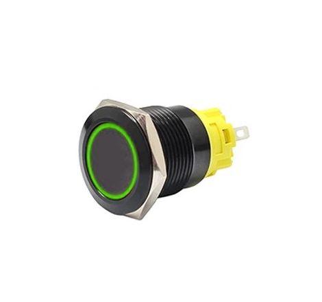 16mm Black Latching Black Push Button Switch - Green LED