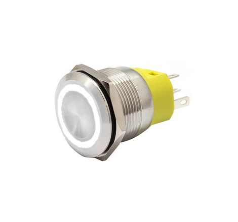 22mm Chrome Latching Push Button Switch - White LED