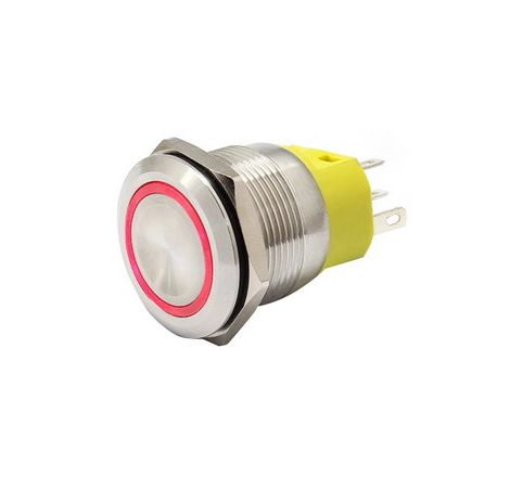 22mm Chrome Latching Push Button Switch - Red LED
