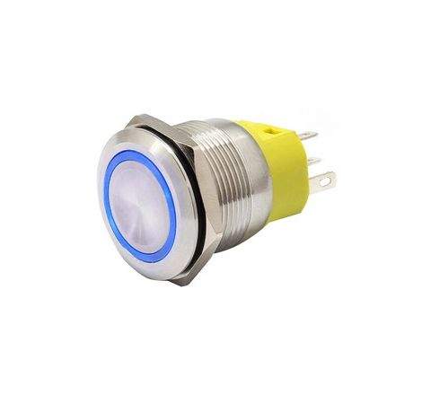 22mm Chrome Latching Push Button Switch - Blue LED