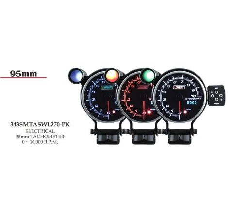 Prosport 95mm Analogue Tachometer with LED Display